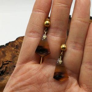 Vintage antique screwback 12k GF gemstone dainty